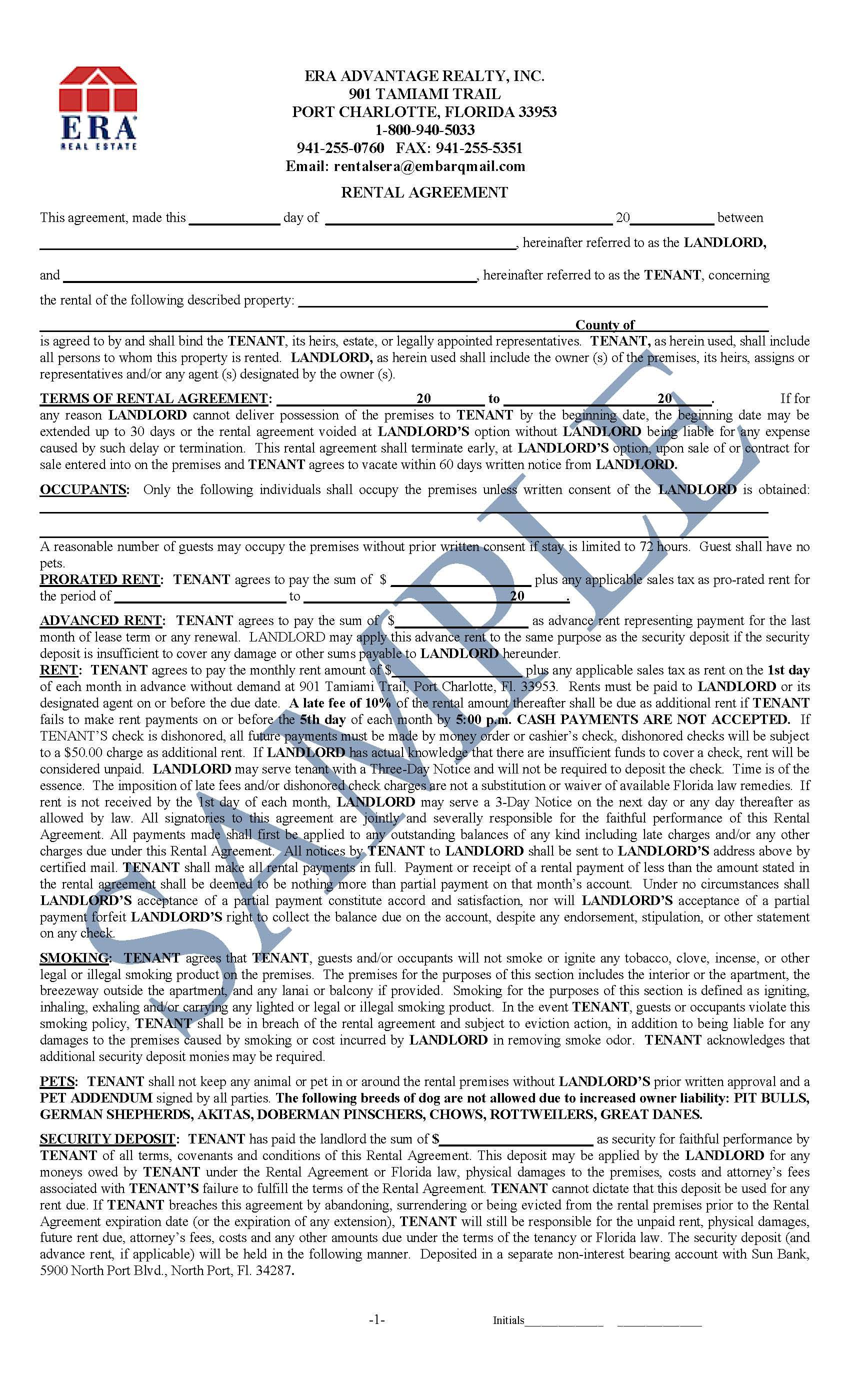 Sample Rental Agreement – Sample of a Lease Agreement