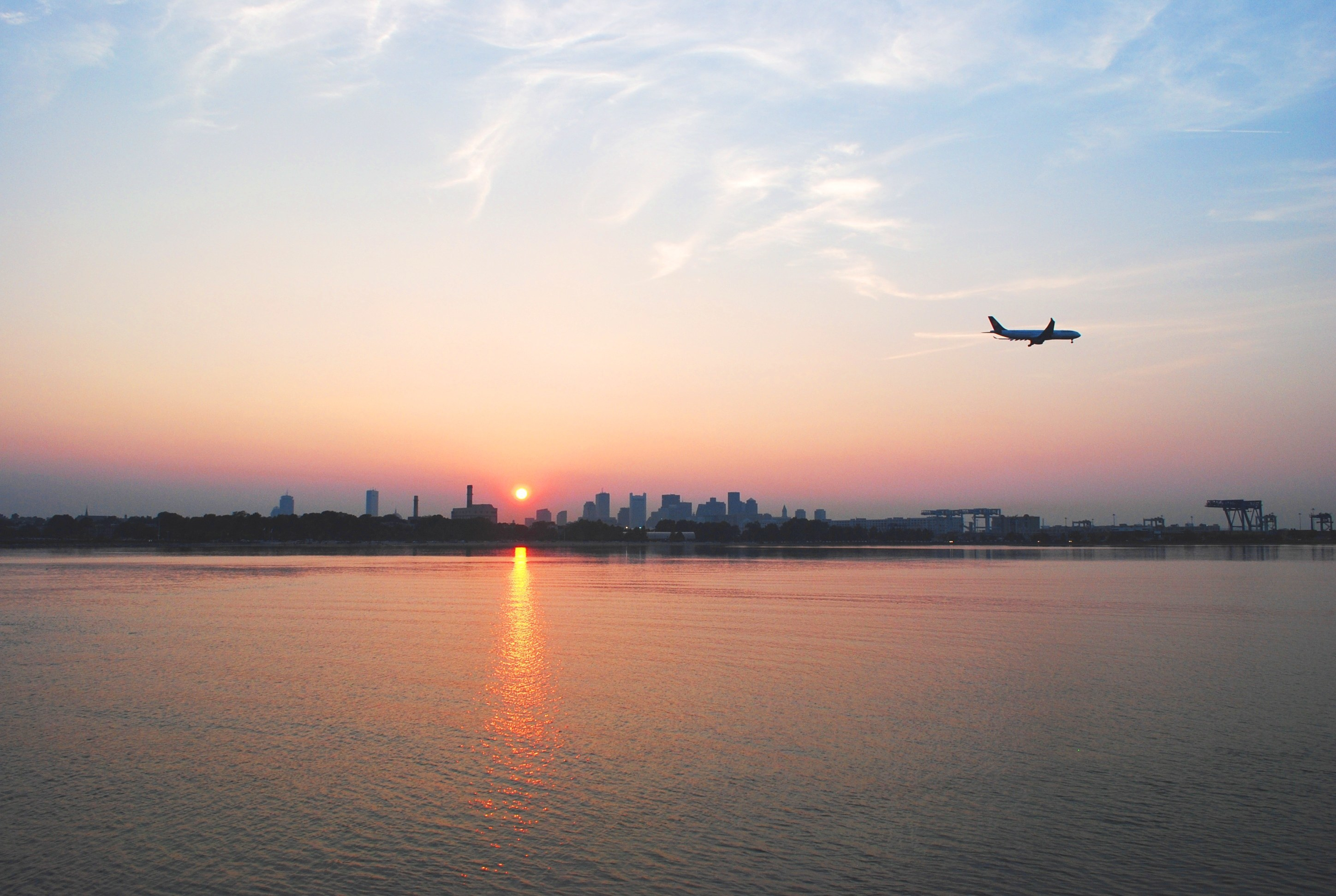Sunset Landing at Logan Airport - View from Castle Island