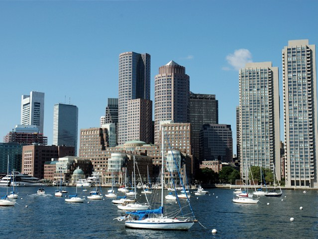 Waterfront, Rowes Wharf, view of Boston Harbor