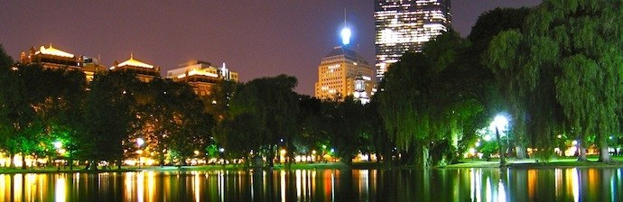Back Bay neighborhood seen from the Public Garden at night