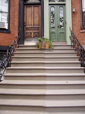 South End brownstones feature dramatic stoops to the parlor level