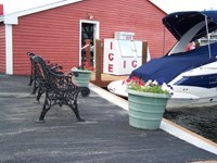 The Associations at Channel Marine on the shores of Lake Winnipesaukee, view of dock house