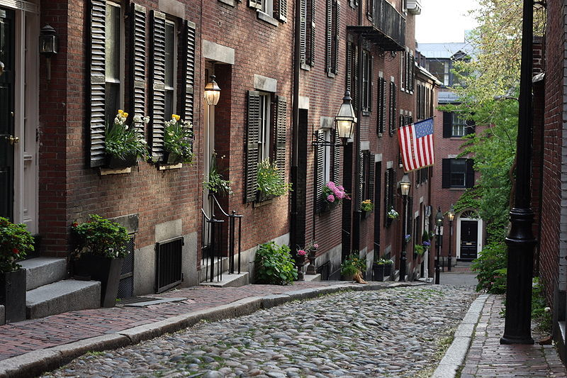 Beautiful cobbled streets lined with Beacon Hill homes in Boston MA