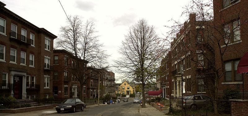 A quaint Allston Ma street with lovely homes.