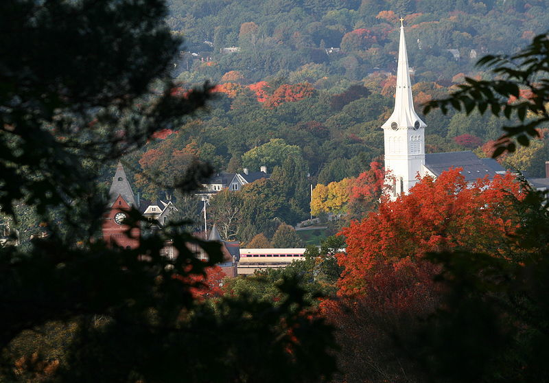 A beautiful fall view of Downtown Winchester MA